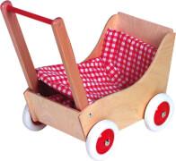 Holz-Puppenwagen karo rot / weiß, ca. 50 cm