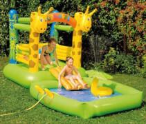 Hüpfburg+Pool Giraffe m.Sprühfunktion